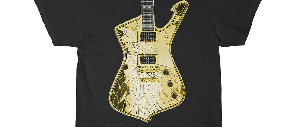 KISS Paul Stanley Ibanez PS-10 Iceman GOLD Mirrorball Guitar Short Sleeve Tee