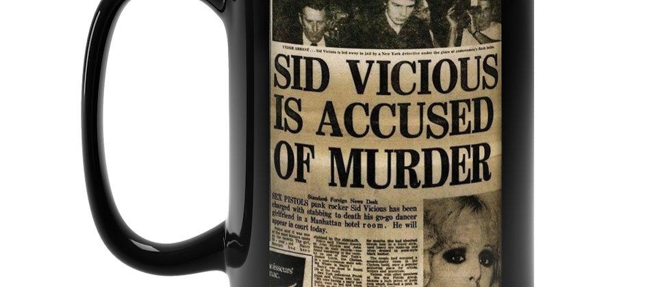Sid Vicious Accused of Murder  Black Mug 15oz
