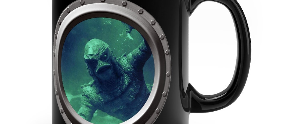 Creature From The Black Lagoon in a Porthole Black mug 11oz