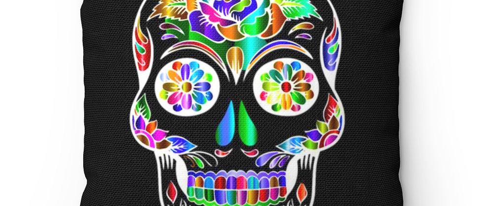 Beautiful Sugar Skull on black Spun Polyester Square Pillow gift