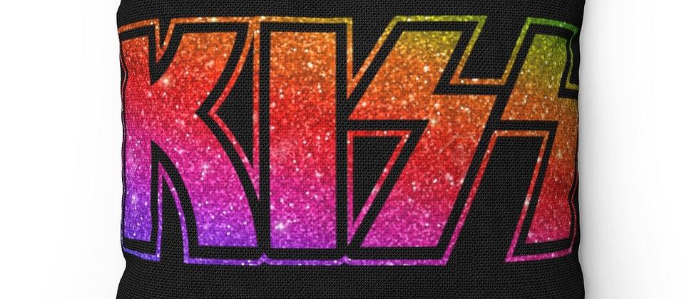 KISS Rainbow Glitter Logo  Spun Polyester Square Pillow gift