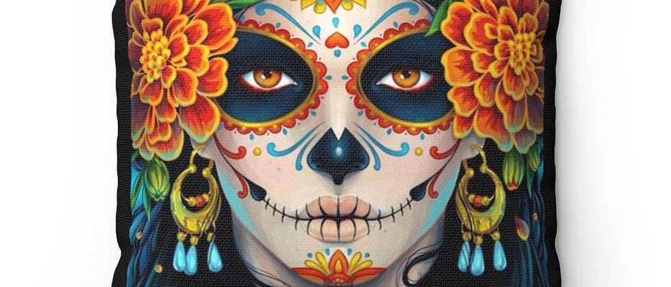Beautiful flowered Sugar Skull babe Spun Polyester Square Pillow gift