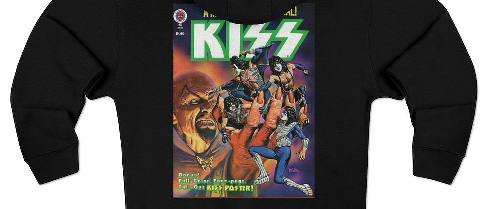 KISS Comic Book 2 w/ glitter logo hoodie Unisex Premium Full Zip Hoodie