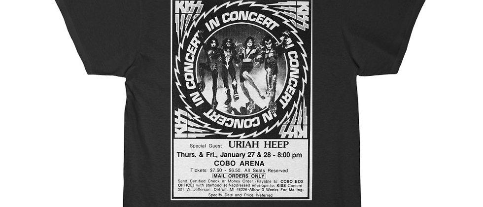KISS Concert Advertisment 1977 Cobo Hall Men's Short Sleeve Tee