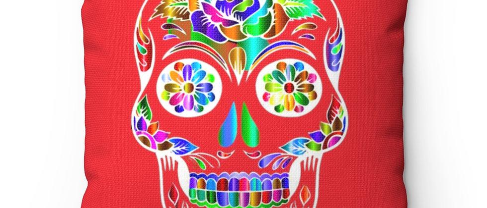 Beautiful Sugar Skull on red Spun Polyester Square Pillow gift