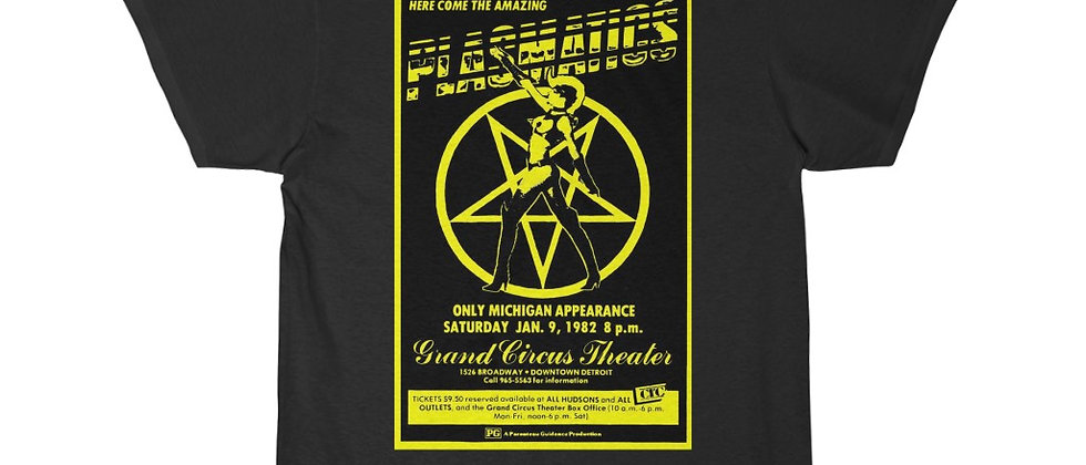 PLASMATICS GCT Flyer 1982 yellow  Men's Short Sleeve Tee
