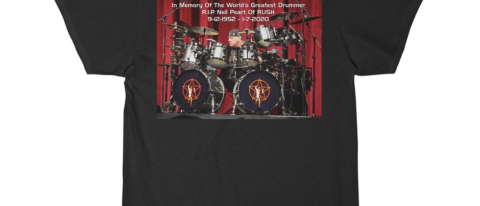 Neil Peart of RUSH Drums R.I.P. Short Sleeve Tee