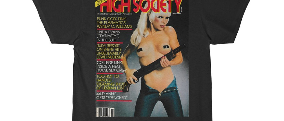 PLASMATICS Wendy O. on the cover of High Society Men's Short Sleeve Tee