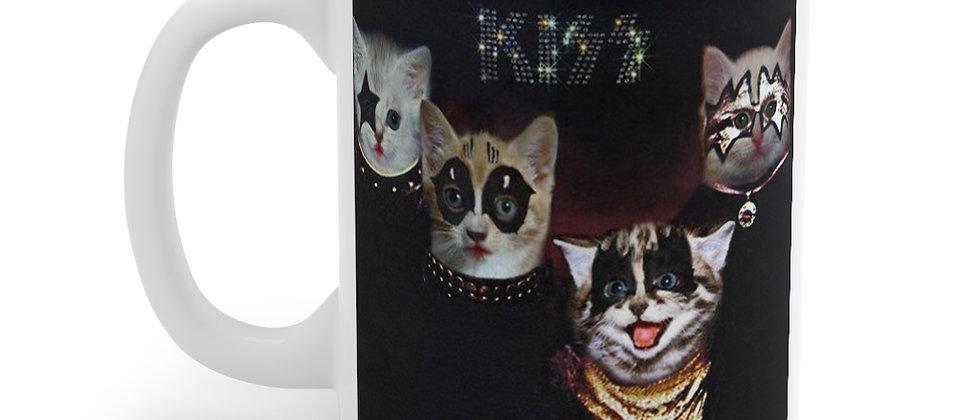 KISS Kittens 1st record Cat Rock all night  Mug 11oz