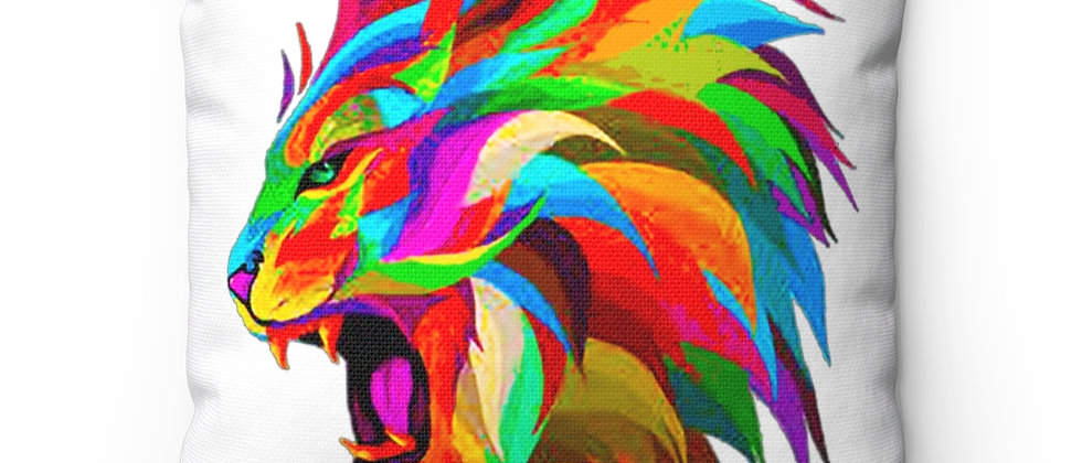 The Lion and hid beautiful rainbow mane on wht Spun Polyester Square Pillow gift