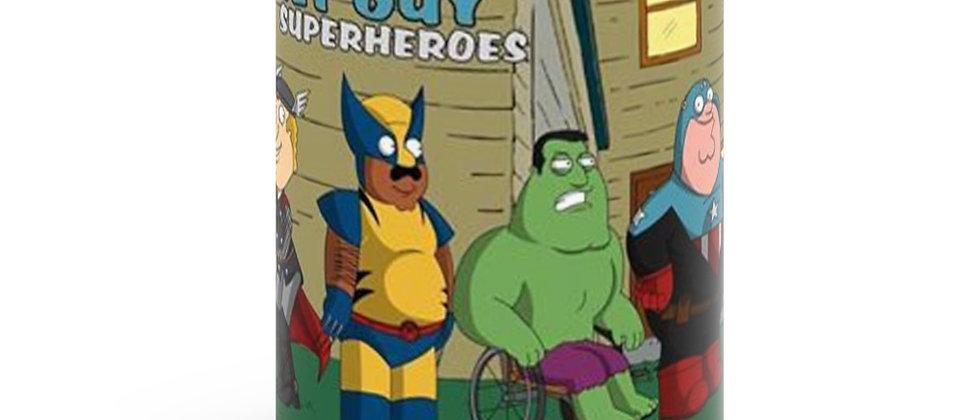 FAMILY GUY Superheroes  Black mug 11oz