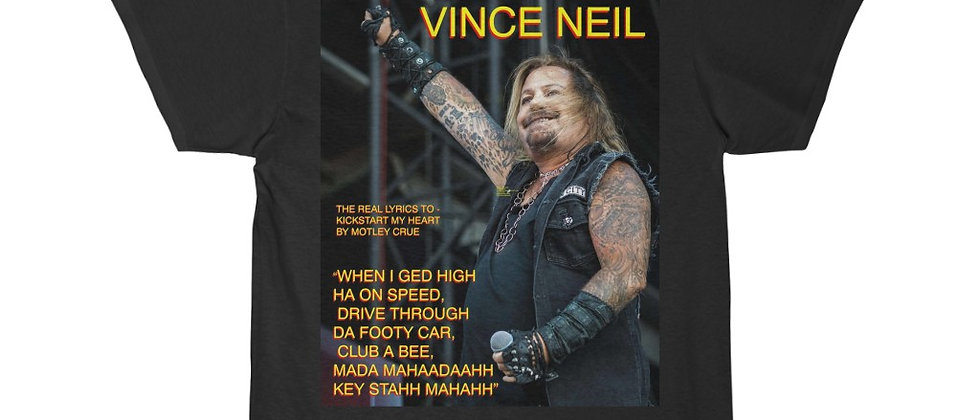 VINCE NEIL The Real Lyrics To Kickstart My Heart Short Sleeve Tee