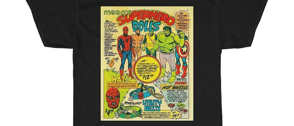 Mego Superhero dolls ad retro mid 70's Unisex Heavy Cotton Tee