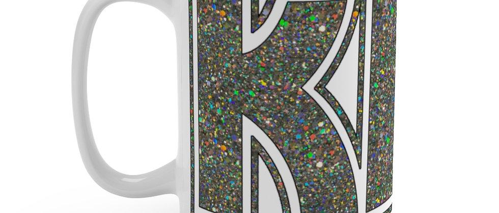 KISS Silver Glitter logo on white Mug 15oz