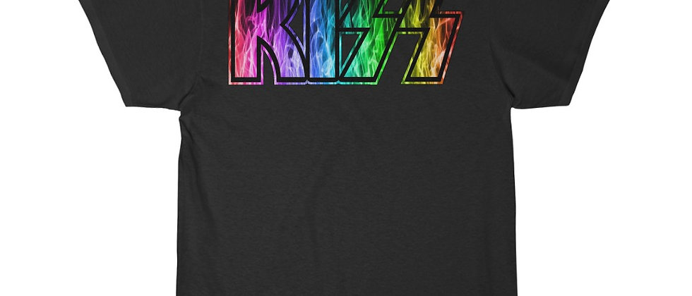 KISS Logo rainbow flames 1 Short Sleeve Tee