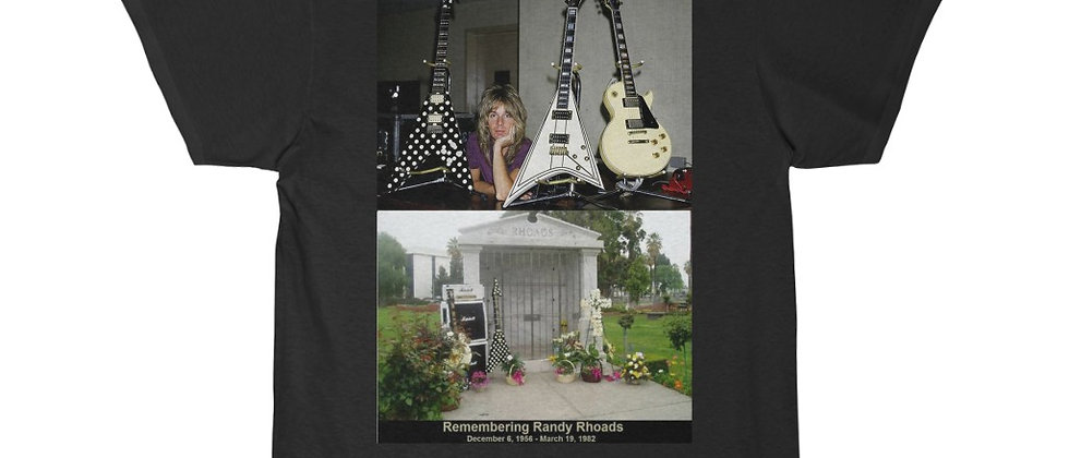 RANDY RHOADS RIP Guitars and Grave Men's Short Sleeve Tee