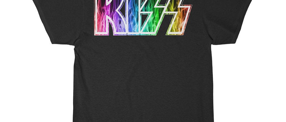 KISS Logo rainbow flames 2 Short Sleeve Tee