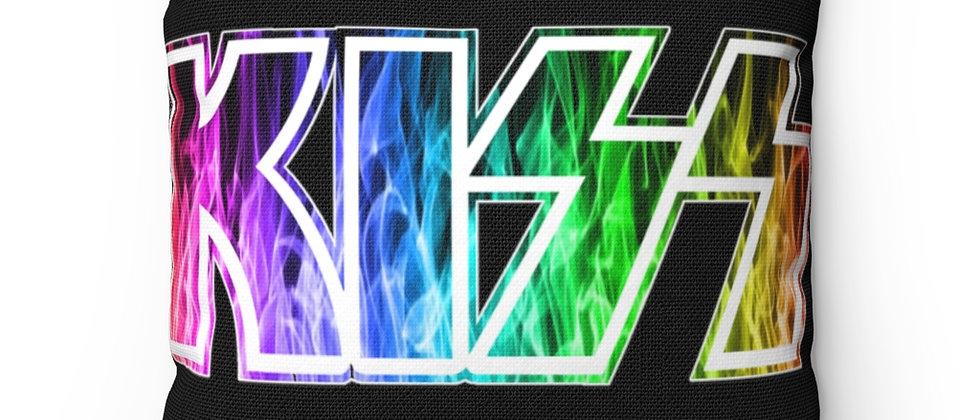 KISS Rainbow Fire Logo Spun Polyester Square Pillow gift