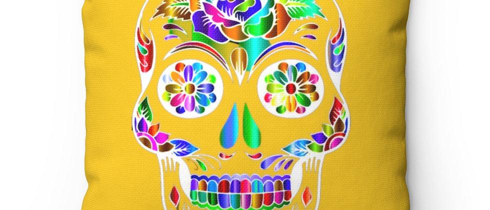 Beautiful Sugar Skull on yellow Spun Polyester Square Pillow gift