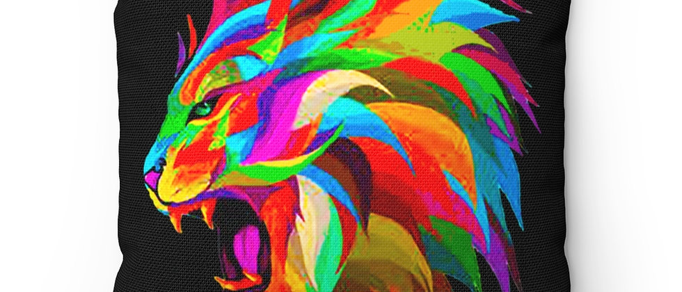 The Lion and hid beautiful rainbow mane Spun Polyester Square Pillow gift