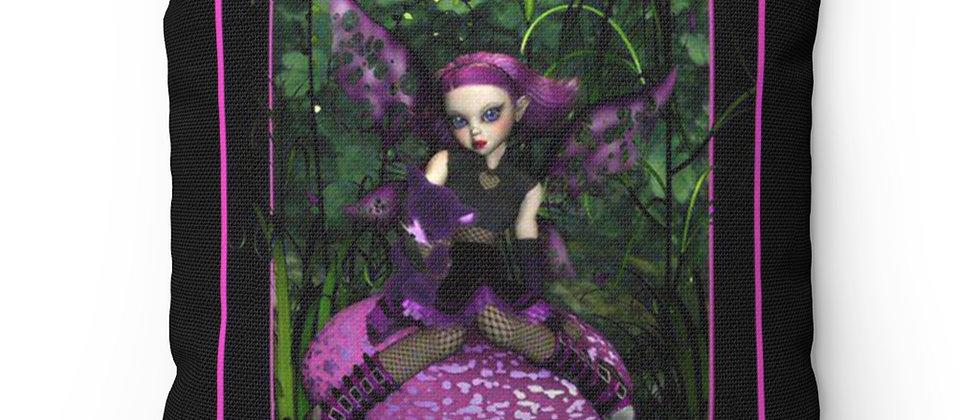 Purple Pixie girl fairy on a mushroom Spun Polyester Square Pillow gift