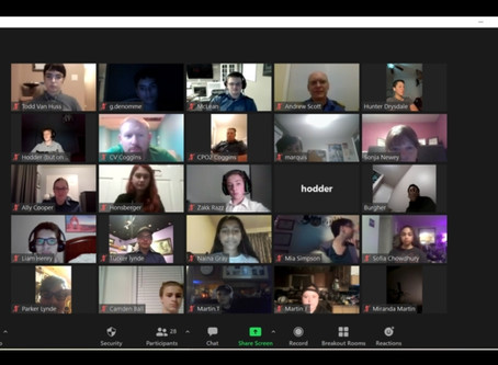Here's a picture of our Zoom Meeting on Wednesday night.