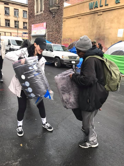 Michelle brought blankets to hand out.