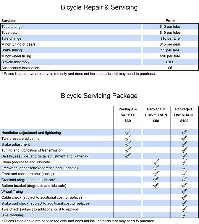 Bicycle Repair & Servicing Price Guide