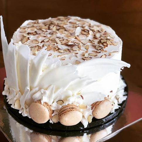 White chocolate almond birthday cake.