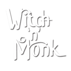 witch _n_ monk white on transparent logo