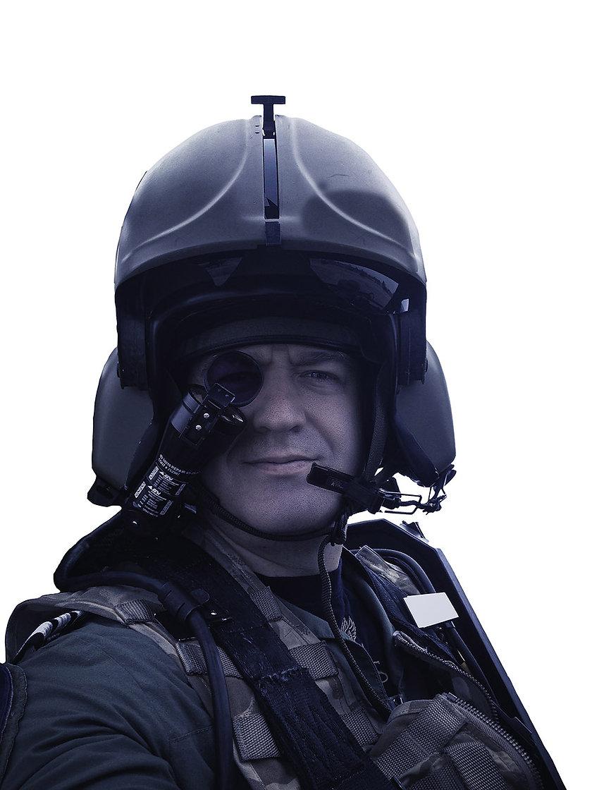Experimental test pilot, Matt Ward, shown assessing the Apache helicopter's IHADSS