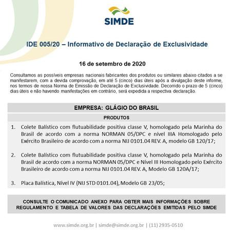 IDE 005/20 - Informativo de Declaração de Exclusividade