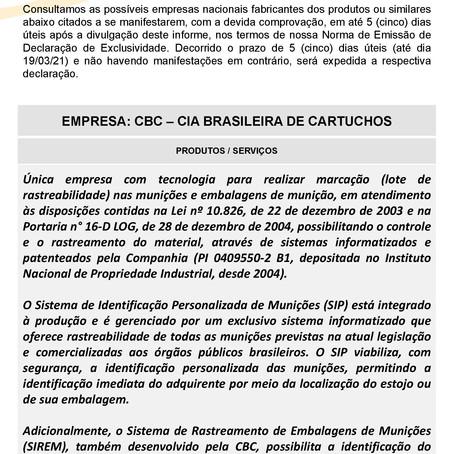 IDE 010/21 - Informativo de Declaração de Exclusividade