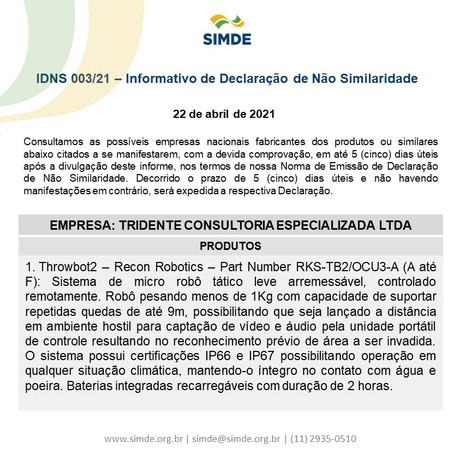 IDNS 003/21 - Informativo de Declaração de Não Similaridade