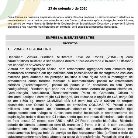 IDE 006/20 - Informativo de Declaração de Exclusividade