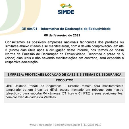 IDE 004/21 - Informativo de Declaração de Exclusividade