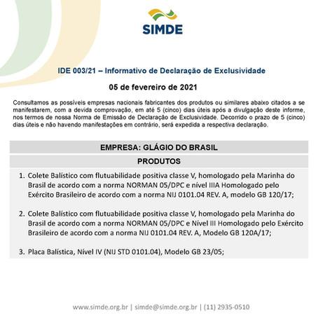 IDE 003/21 - Informativo de Declaração de Exclusividade