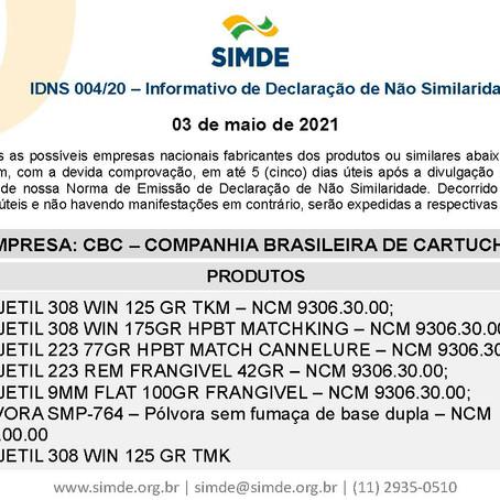 IDNS - 004/21 - Informativo de Declaração de Não Similaridade