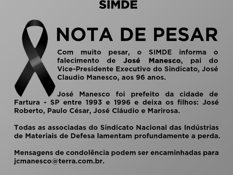 Nota de Pesar - José Manesco