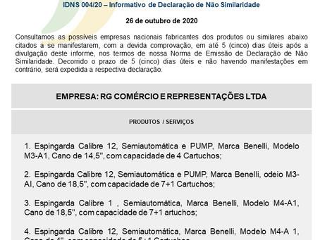 IDNS 004/20 - Informativo de Declaração de Não Similaridade