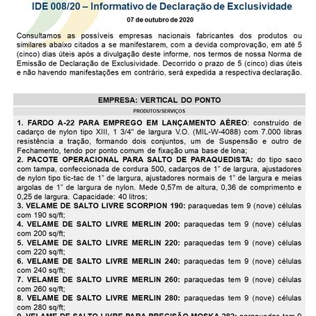IDE 008/20 - Informativo de Declaração de Exclusividade