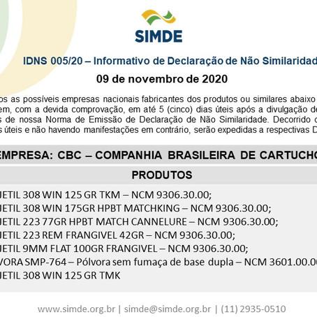 IDNS 005/20 - Informativo de Declaração de Não Similaridade