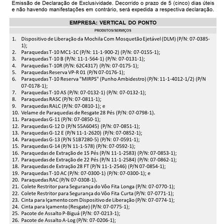 IDE 010/20 - Informativo de Declaração de Exclusividade
