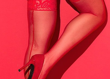 Zara Raunch Red Thigh Highs