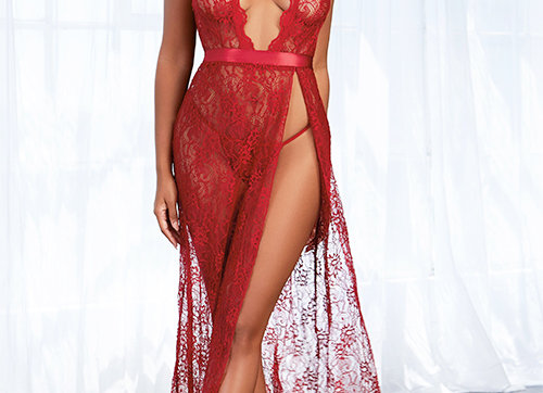 Love Letter Long Lace Gown with Thong