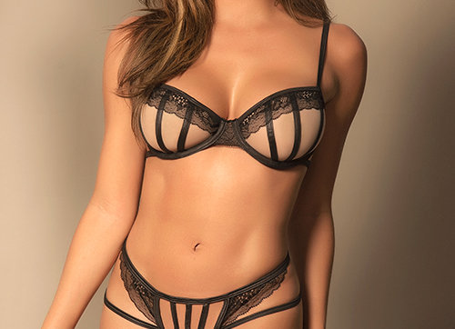 Not Your Average Nude Mesh Lace Bra and Thong
