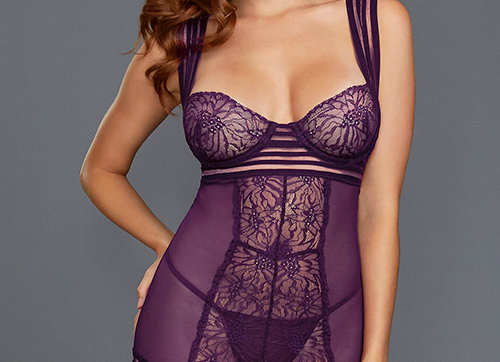 Luna Lace and Mesh Gartered Chemise