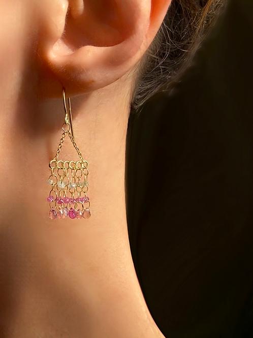 Magic Carpet Pink Sapphire Earrings