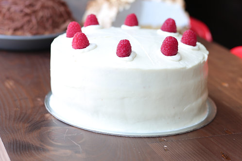 Raspberry Layer Cake with Vanilla Frosting