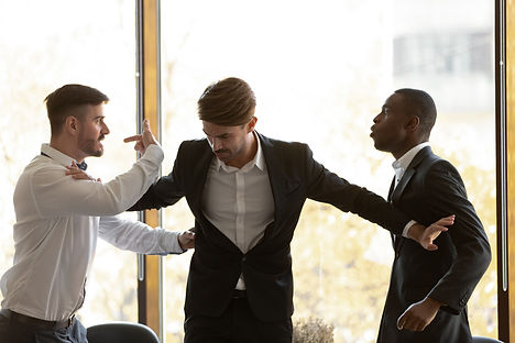 Male colleague set apart angry diverse b